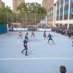 The blue mini-pitch at P.S. 49 was constructed last year.