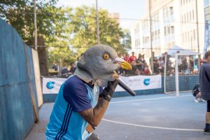 NYCFC's mascot The Pigeon swooped in.