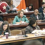 Speaker Melissa Mark-Viverito (center, in green suit) has called for a hearing. Photo: William Alatriste | NYC Council