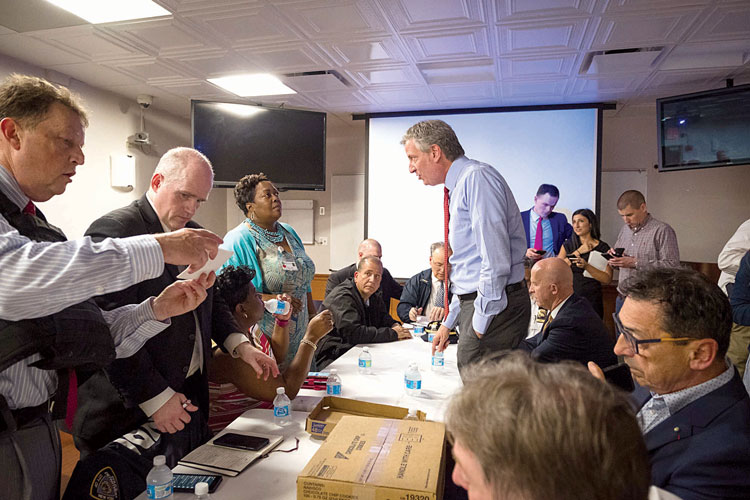 """This was a horrific situation,"" said Mayor Bill de Blasio (center, standing)."