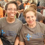 """""""It levels the playing field,"""" said Lauren Springer (left), with Sandra Hidalgo, of Catholic Migration Services."""