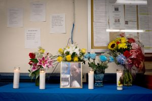 A memorial inside the 46th Precinct House.