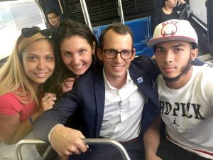 Pedro Hernández (far right) was released in July. He is here with his mother Jessica Pérez (far left) and Sierra Ewert and Wade McMullen from the Human Rights group. Photo: Robert F. Kennedy Human Rights