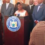 """""""This is a way to give people a chance,"""" explained Bronx District Attorney Darcel Clark (center)."""