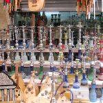 Hookahs on display.
