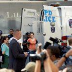 Police vans were brought in.