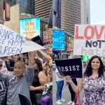 Protestors recently gathered in Times Square.