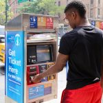 Riders pay their fares at curbside boxes prior to boarding.