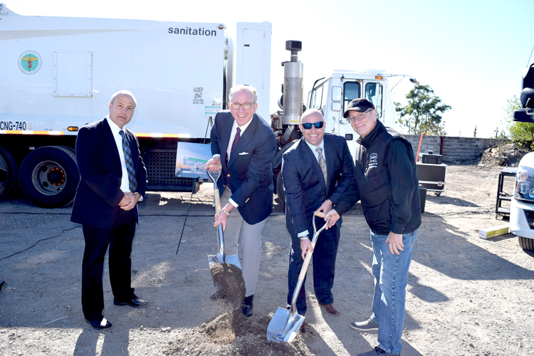 From left: Rocky DiRico, DSNY Deputy Commissioner; Andrew Littlefair, President of Clean Energy Fuels; Mark Riley, of Clean Energy Fuels; and Steve Tufo, Transportation Manager at Baldor Specialty Foods.