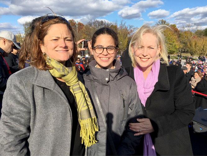 Speaker Melissa Mark-Viverito (left) with Senator Kirsten Gillibrand pose with a young marcher. Photo: @SenGillibrand