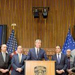 """""""We will be undeterred,"""" said Mayor Bill de Blasio (center)."""