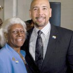Bronx Borough President Rubén Díaz Jr. with Aurelia Greene, who has retired.