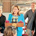 """""""She's been a great help,"""" says Cagle of City Council Speaker Melissa Mark-Viverito (center)."""