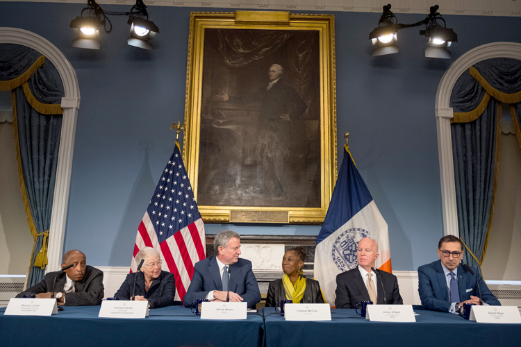 "Mayor Bill de Blasio called Fariña ""one of the most effective chancellors we've ever had."" Photo: Edwin J. Torres"