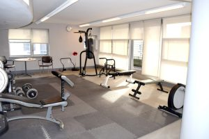 The building offers an onsite gym.