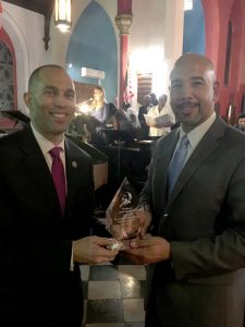 "Congressman Hakeem Jeffries presented the Borough President with an ""Excellence in Leadership"" Award."