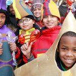 Schoolchildren take part in the annual tradition.