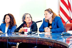 From left to right: Former members of the Public Technology Unit Erica González and Juana Ponce de León with then-Speaker Melissa Mark-Viverito. Photo: Voices of New York