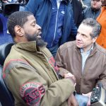 Cuomo spoke with resident Jeffrey Blyther. Photo: G. McQueen