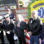 Oren Barzilay, President of the Uniformed EMT's, Paramedics and Inspectors Union Local 2507 (center), addressed the crowd.