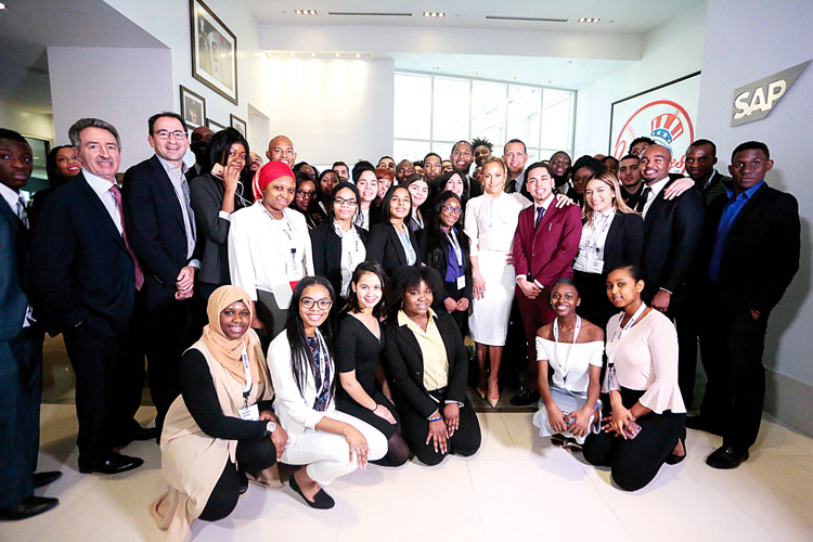 Project Destined launched its boot camp with J-Lo (center).