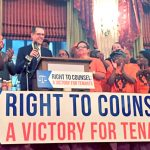 The legislation, which provides tenants with free legal assistance in housing court, passed last year.