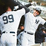 New York Yankees Aaron Judge(left) and Giancarlo Stanton connect.