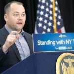 """""""Every public housing resident deserves to live with respect,"""" said Council Speaker Corey Johnson. Photo: Office of the Governor"""