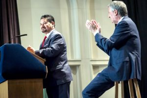 Richard Carranza (at podium) has begun his tenure as Schools Chancellor. Photo: Office of the Mayor