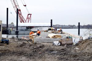 The pier under construction.