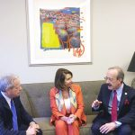 Congressman Eliot Engel speaks with Pelosi and Reingold.