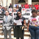 """Mayor de Blasio has failed to show leadership,"" said Monifa Bandele (center)."
