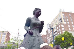 The Harriet Tubman statue in Harlem is one of only five monuments of women in NYC.
