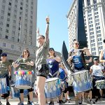 The Fogo Azul Brazilian Marching Samba drumline.