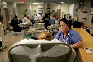 Emergency room nurses said they are treating as many as 15 patients at one time.