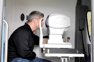 The van provided eye exams free of charge.