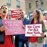 Nurses rallied to protest staffing measures at Montefiore.