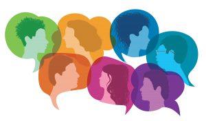 Ilustración de personas hablando